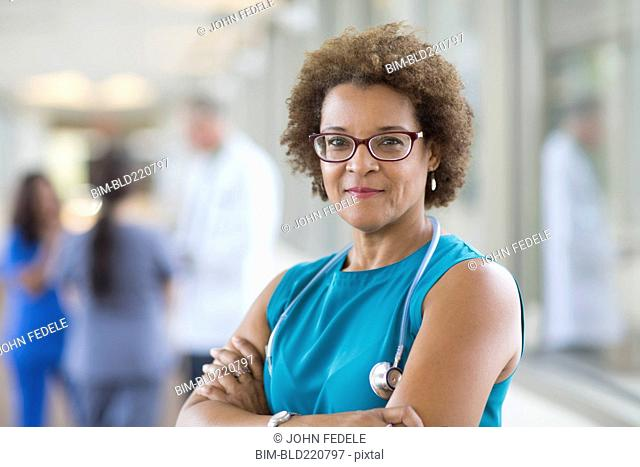 African American doctor smiling