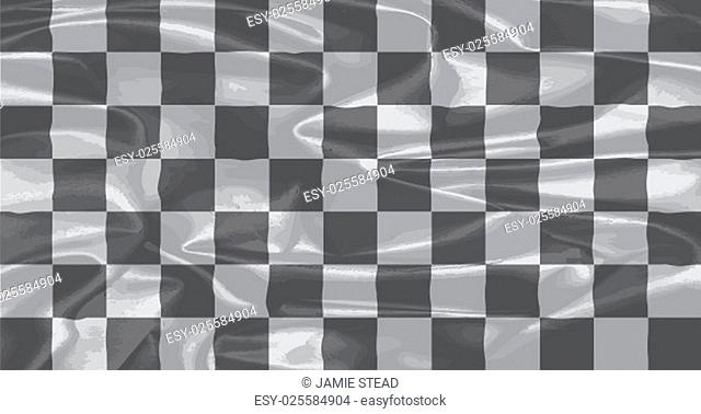 A racing black and white chequered silk flag
