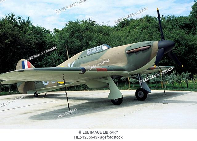 Full scale model of a Hawker Hurricane, 56 Squadron, Battle of Britain Memorial, Capel le Ferne, Kent, 1993. Fighter plane at the site commemorationg the Battle...