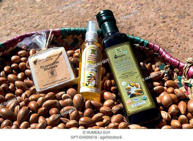 SOAP, ARGAN COSMETIC AND COOKING OIL IN A BASKET OF ARGANS, THE WOMEN'S COOPERATIVE OF MARJANA, TRADITIONAL MANUFACTURING OF ARGAN OIL AND COSMETICS, ESSAOUIRA