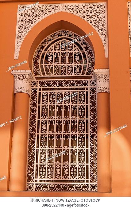 Ornate arabesque window in the old cityMedina of Marrakesh, Morocco