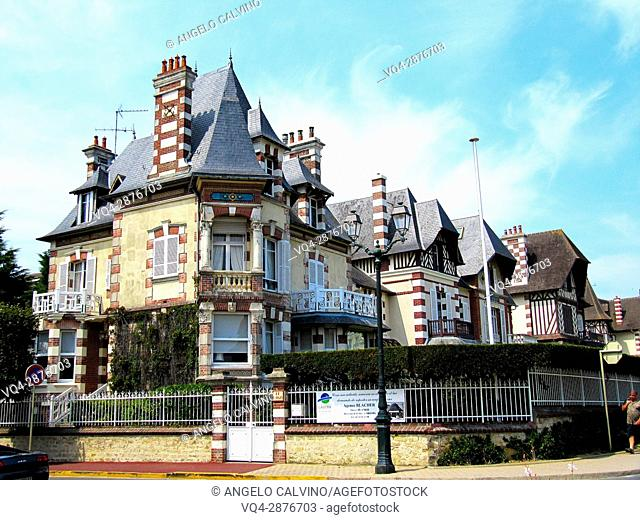 traditional seaside architecture in Cabourg, Deauville, Normandy, France. .