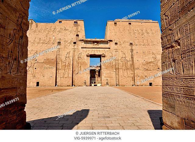 EGYPT, EDFU, 09.11.2016, pylon at entrance of Temple of Edfu, Egypt, Africa - Edfu, Egypt, 09/11/2016