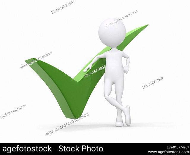 3D person getting it right with a green check mark - isolated ov