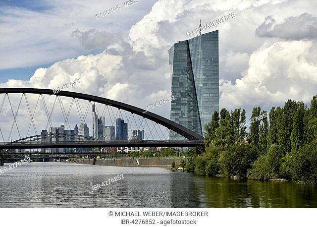 Osthafenbrücke bridge and European Central Bank, ECB, Frankfurt am Main, Hesse, Germany
