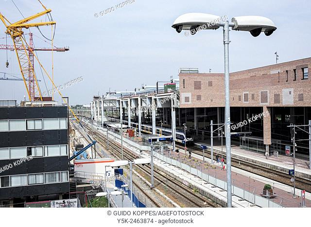 Breda, Netherlands. View on the tracks of Breda Central Railway Station during the rebuilding and renovation of the station