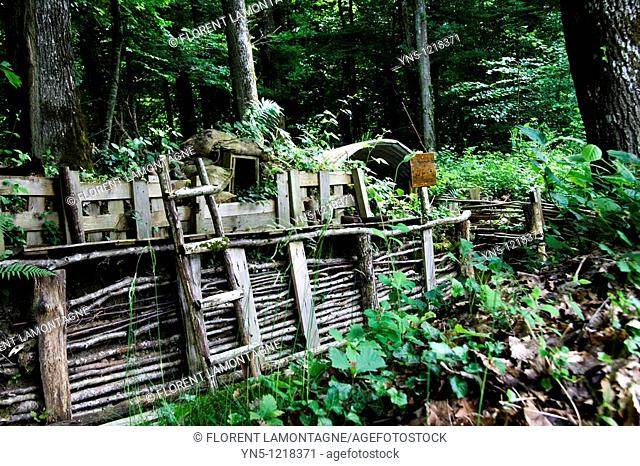 France, Champagne-Ardenne, Marne 51, Vienne le Chateau - Camp de la Vallée Moreau - recontitution and remnants of a german camp of the First Worl War - Trenches
