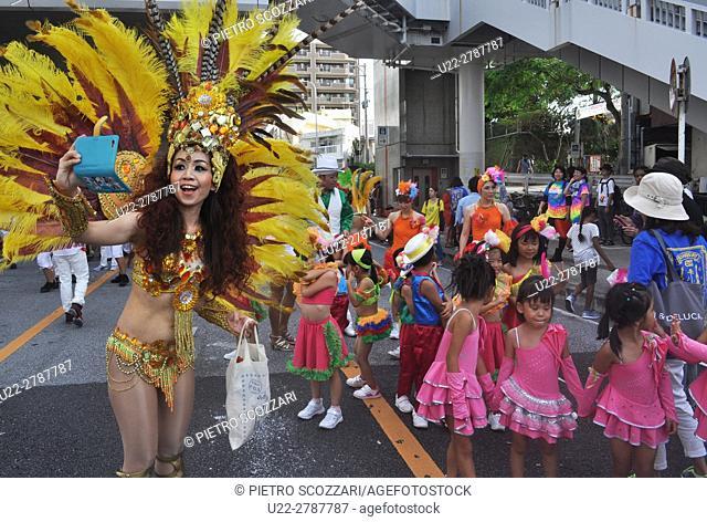 Naha, Okinawa, Japan: Braziian parade during the 6th Worldwide Uchinanchu Festival, celebrating the Okinawan emigrants