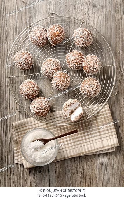 Coconut bites with grated coconut on a wire rack