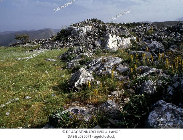 Ruins of the ancient town of Axos, Crete, Greece