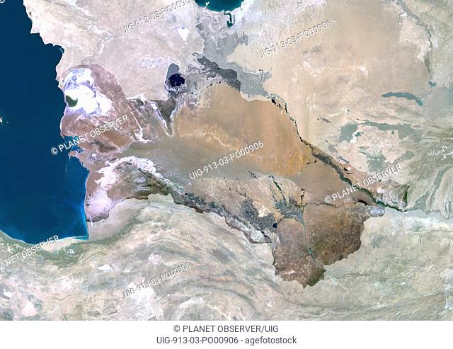 Turkmenistan, Asia, True Colour Satellite Image With Mask. Satellite view of Turkmenistan with mask. This image was compiled from data acquired by LANDSAT 5 & 7...