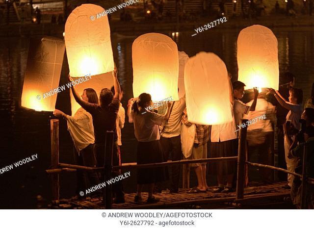 Hot air balloons Loy Krathong festival Nawarat Bridge Chiang Mai Thailand
