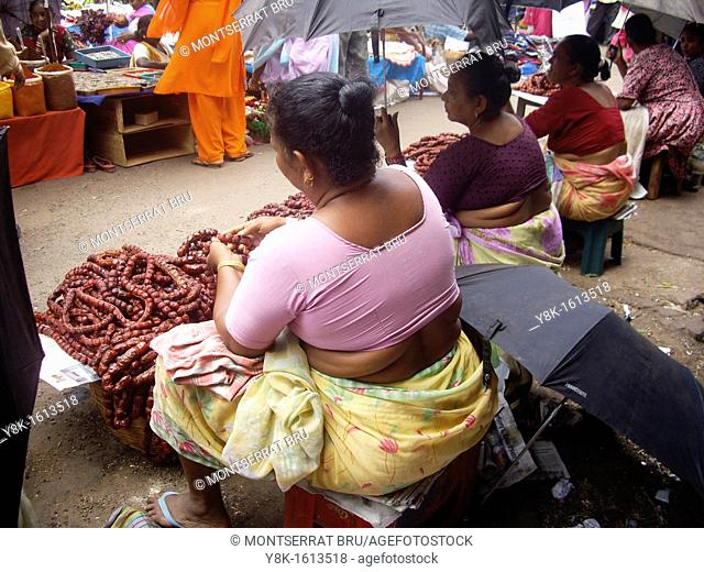 Chourisso saleswomen stalls at Mapusa market, Goa, India