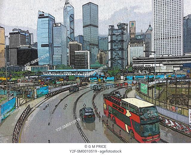 red Hong Kong Big Bus and traffic against Hong Kong skyline