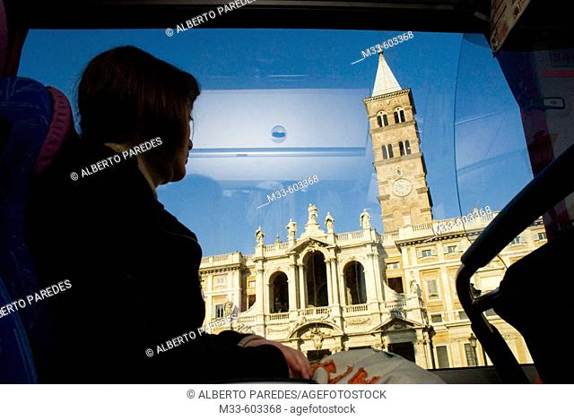 S. Maria la Maggiore church from a bus. Rome. Italy