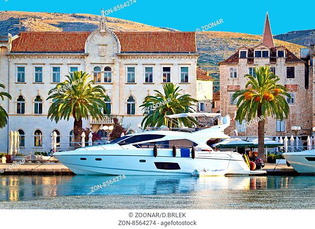Adriatic town of Trogir seafront view, yacht and old architecture, UNESCO world heritage site