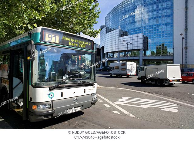 Bus in front of Bastille Opera. Paris. France
