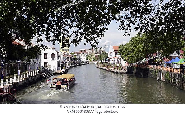 A tourist boat in Sungai Melaka river. Malacca. Malaysia
