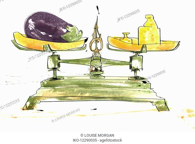 Weighing eggplant on old-fashioned scales