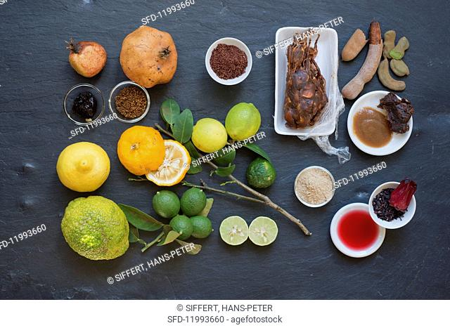 An arrangement of different sour spices and ingredients
