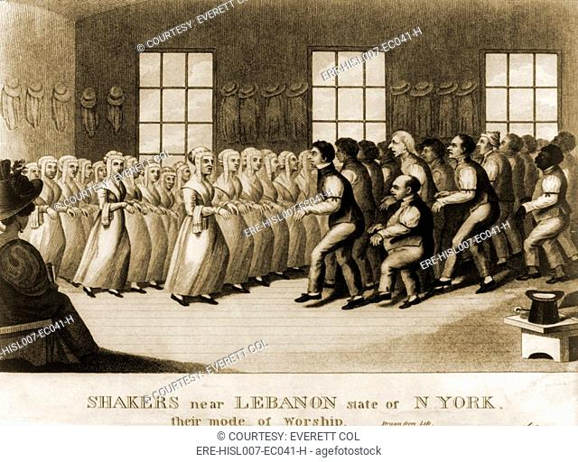 Shakers, separated by gender, performing a step dance in the meeting hall at New Lebanon, New York. Ca. 1830