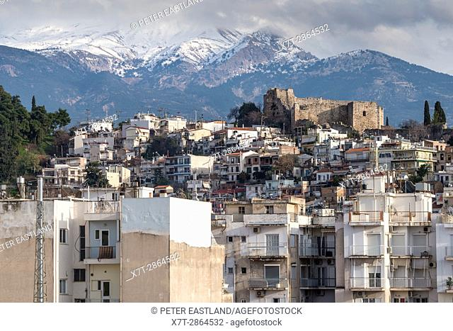 Looking towards old Patras and its castle, with Mount Panachaiko in the background, Patras, Achaea, Peloponnese, Greece
