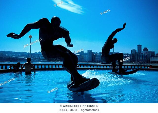 Sculpture The Surfer, La Coruna, Galicia, Spain