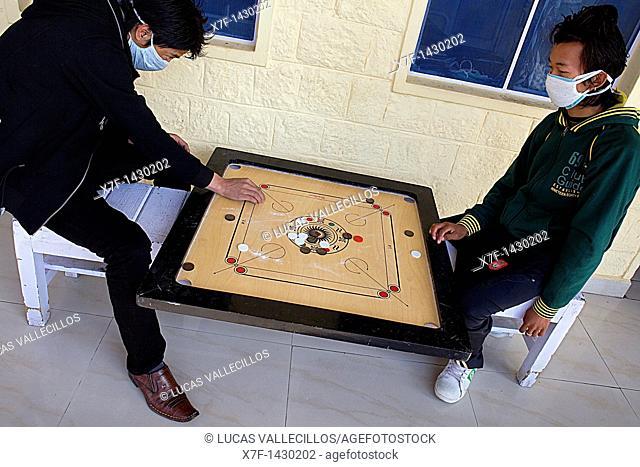 TB patients playing, in Tibetan Delek Hospital, Dharamsala, Himachal Pradesh state, India, Asia