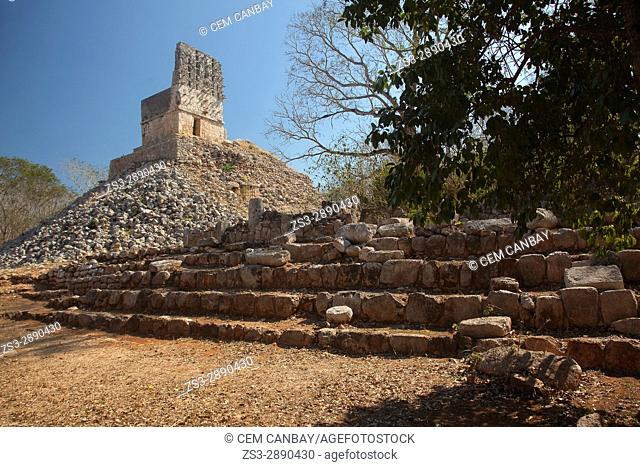 View to the El Mirador-Observatory in the Labna Archaeological site, Puuc Route, Merida, Yucatan State, Mexico, Central America