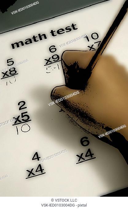 Child taking math test