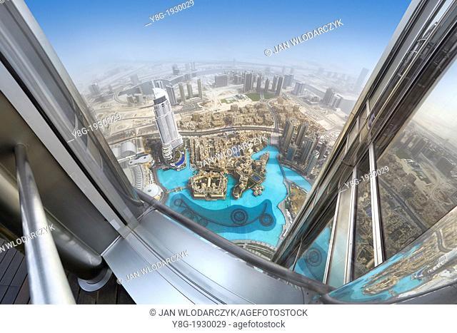 View of Dubai city center from terrace on the 124 floor of Burj Khalifa Tower, Dubai, United Arab Emirates