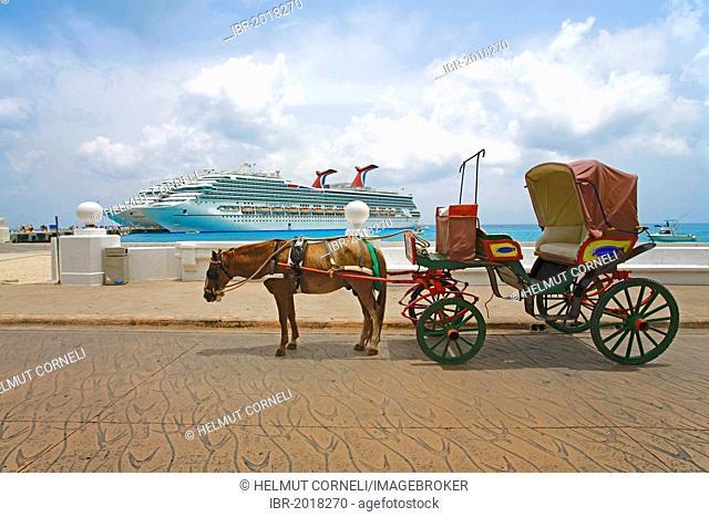 Carriage, cruise ships on a quay, Carnival Valor, Carnival Valor, Cozumel, Mexico, Caribbean