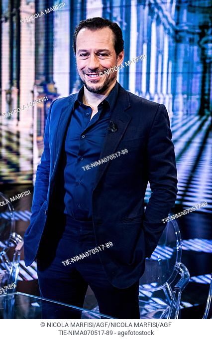 The actor Stefano Accorsi during the tv show Che tempo che fa, Milan, ITALY-08-05-2017