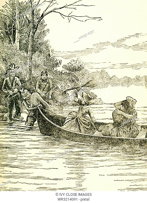 This illustration shows the capture of Miss Jemima Boone (sister of Daniel Boone) and her friends Betsy and Frances Callaway by Indians from Boonesborough