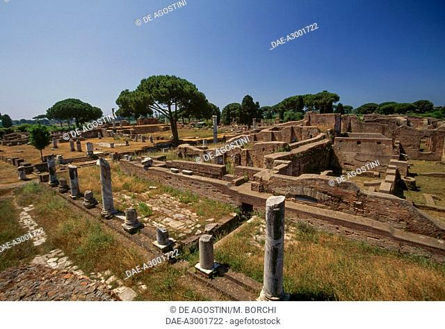 Ruins of the Basilica, Archaeological Park of Ostia Antica, Lazio, Italy, Roman civilization, 1st-2nd century