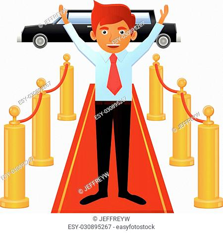 Vector illustration of man wearing a necktie, standing on red carpet entrance