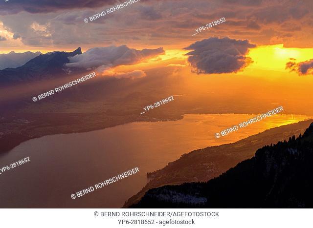 Lake Thun at sunset, Niederhorn, Bernese Oberland, Switzerland