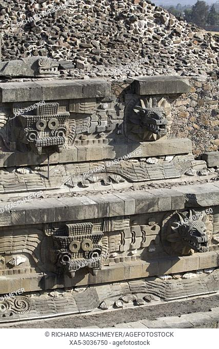 emple of the Feathered Serpent (Quetzalcoatl), Teotihuacan Archaeological Zone, State of Mexico, Mexico