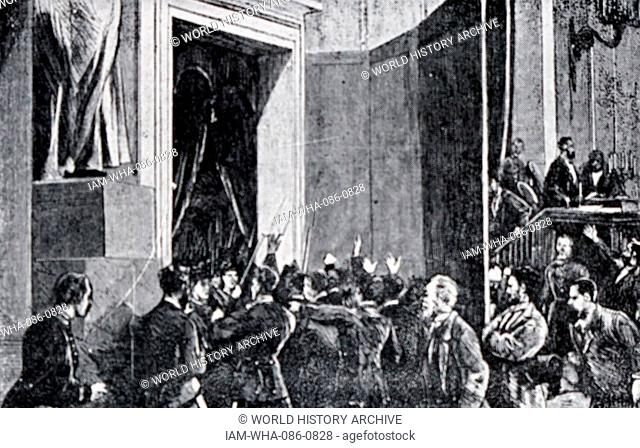 Illustration depicting the entrance of the troops of General Pavia in the Congress of Deputies