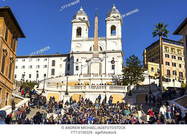 The Spanish Steps (Scalinata di Trinità dei Monti), Rome, Italy, between Piazza di Spagna and Piazza Trinità dei Monti & Trinità dei Monti church