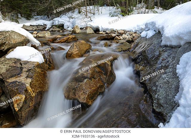 """Franconia Notch State Park - The Pemigewasset River just above """"""""The Basin"""""""" viewing area in Lincoln, New Hampshire USA during the spring months"""