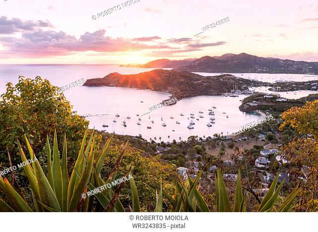 Overview of English Harbour from Shirley Heights at sunset, Antigua, Antigua and Barbuda, Leeward Islands, West Indies, Caribbean, Central America