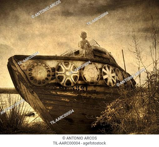 A doll on an old boat