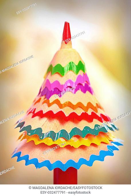 tree made â. ‹â. ‹of colored pencil shavings
