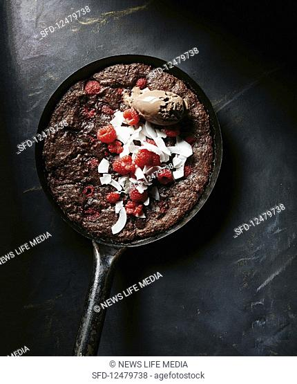 Raspberry and coconut skillet brownie