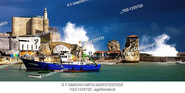Storm, port of Castro Urdiales, Cantabria, Spain