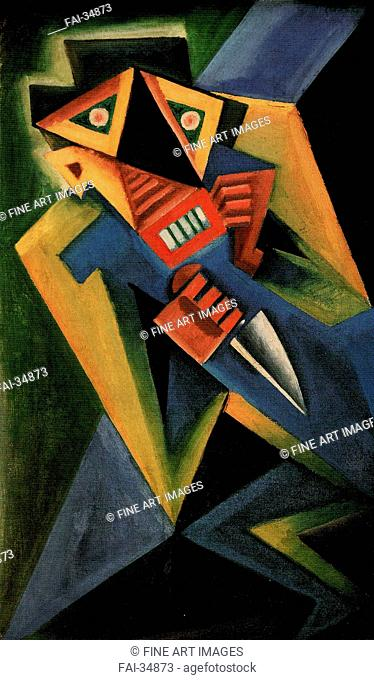 Fantomas by Capek, Josef (1887-1945)/Oil on canvas/Expressionism/1918/Czechia/Private Collection/85x50/Genre,Mythology, Allegory and...