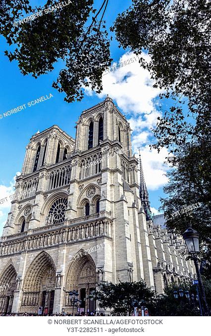 Europe. France. Ile-de-France. Paris. Cathedral Notre-Dame-de-Paris. World Heritage of UNESCO
