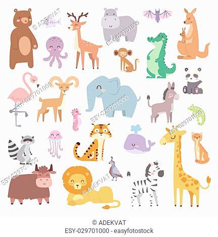 Cartoon animals character and wild cartoon cute animals collections vector. Cartoon zoo animals big set wildlife mammal flat vector illustration