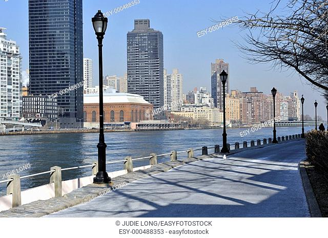 View of Upper East Side, East River, from Roosevelt Island, New York City, NY, USA